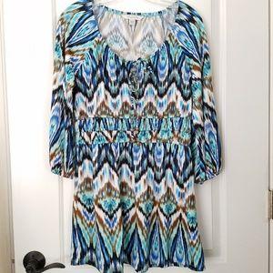 Boston Proper Dress Brown Blue Off Shoulder Medium